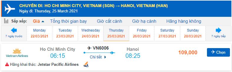 Vé máy bay từ Sài Gòn về Hà Nội Pacific Airlines