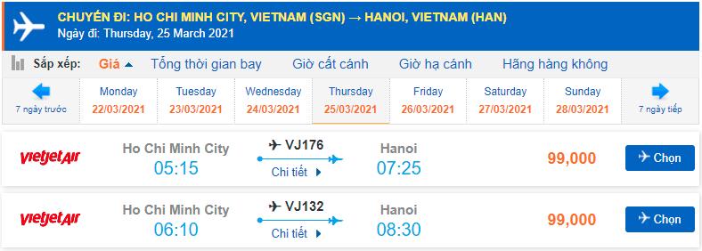 Giá vé máy bay Sài Gòn Hà Nội Vietjet Air
