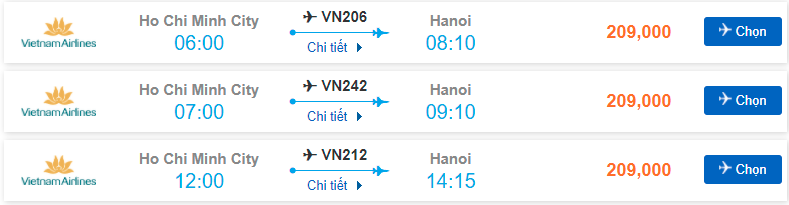 Giá vé máy bay Sài Gòn – Hà Nội