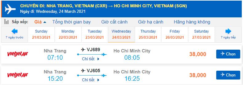 Mua vé máy bay Nha Trang Sài Gòn Vietjet Air