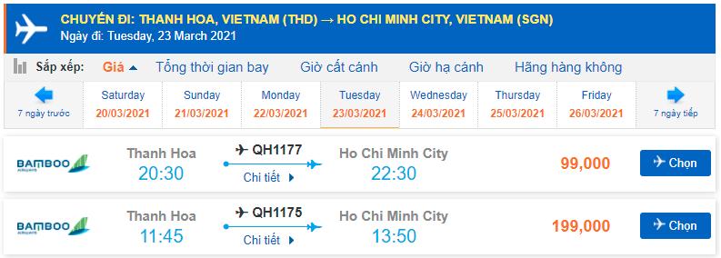 Vé máy bay từ Thanh Hóa vào Sài Gòn Bamboo Airways