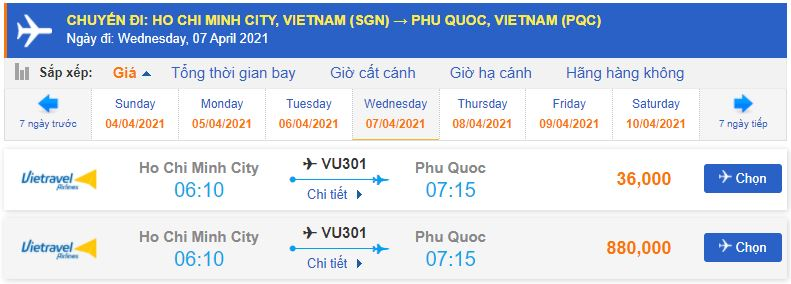 Giá vé máy bay Vietravel Airlines đi Phú Quốc