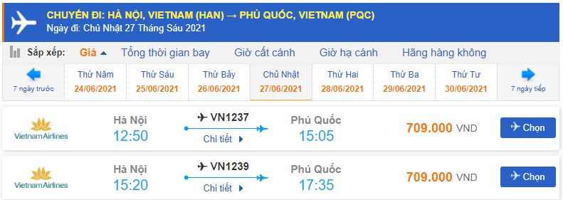 Giá vé máy bay đi Phú Quốc Vietnam Airlines