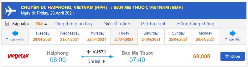 Giá vé máy bay Hải Phòng đi Buôn Ma Thuột Vietjet Air