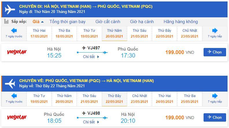 Vé máy bay đi Phú Quốc Vietjet Air từ Hà Nội