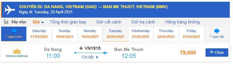Vé máy bay Tp Hồ Chí Minh đi Buôn Ma Thuột Vietnam Airlines