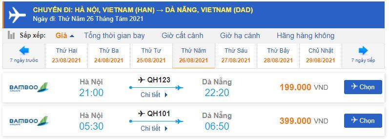 Vé máy bay Hà Nội Đà Nẵng Bamboo Airways