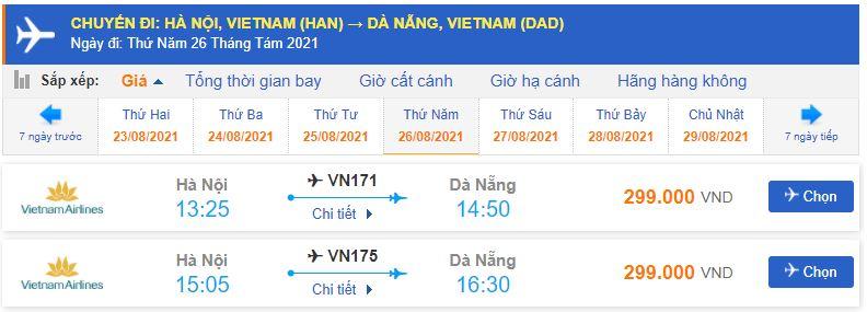 Giá vé máy bay từ Hà Nội đi Đà Nẵng tháng 8