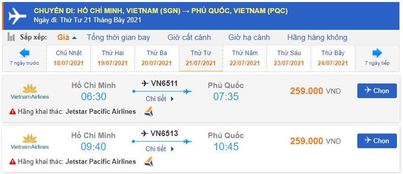 Vé máy bayTPHCN đi Phú Quốc
