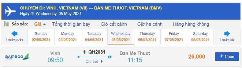 Giá vé máy bay từ Vinh đi Buôn Mê Thuột