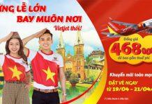 Vé máy bay chỉ từ 468.000 VND khuyến mãi mừng lễ lớn Vietjet Air