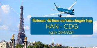Vietnam Airlines mở bán chuyến bay Hà Nội – Paris 24/4/2021