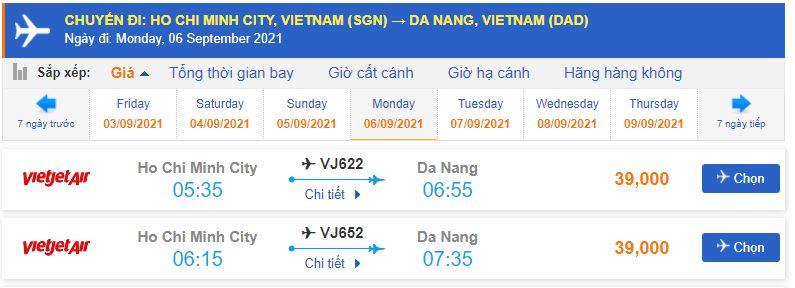 Giá vé máy bay Sài Gòn Đà Nẵng Vietjet