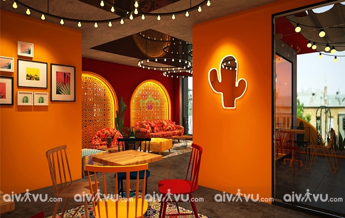 Katus Tea quán cafe tông vàng cực xinh