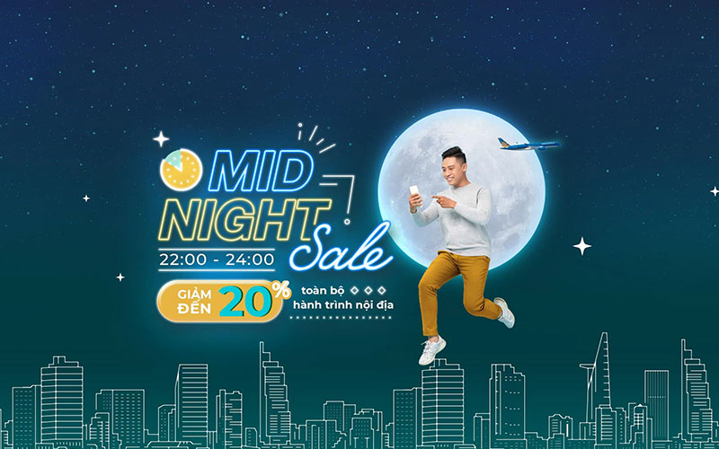 Khuyến mãi Mid – Night Sales Vietnam Airlines giảm đến 20% giá vé