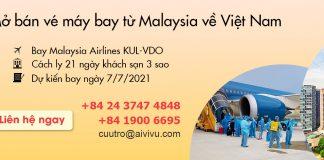 Mở bán vé máy bay từ Malaysia về Việt Nam