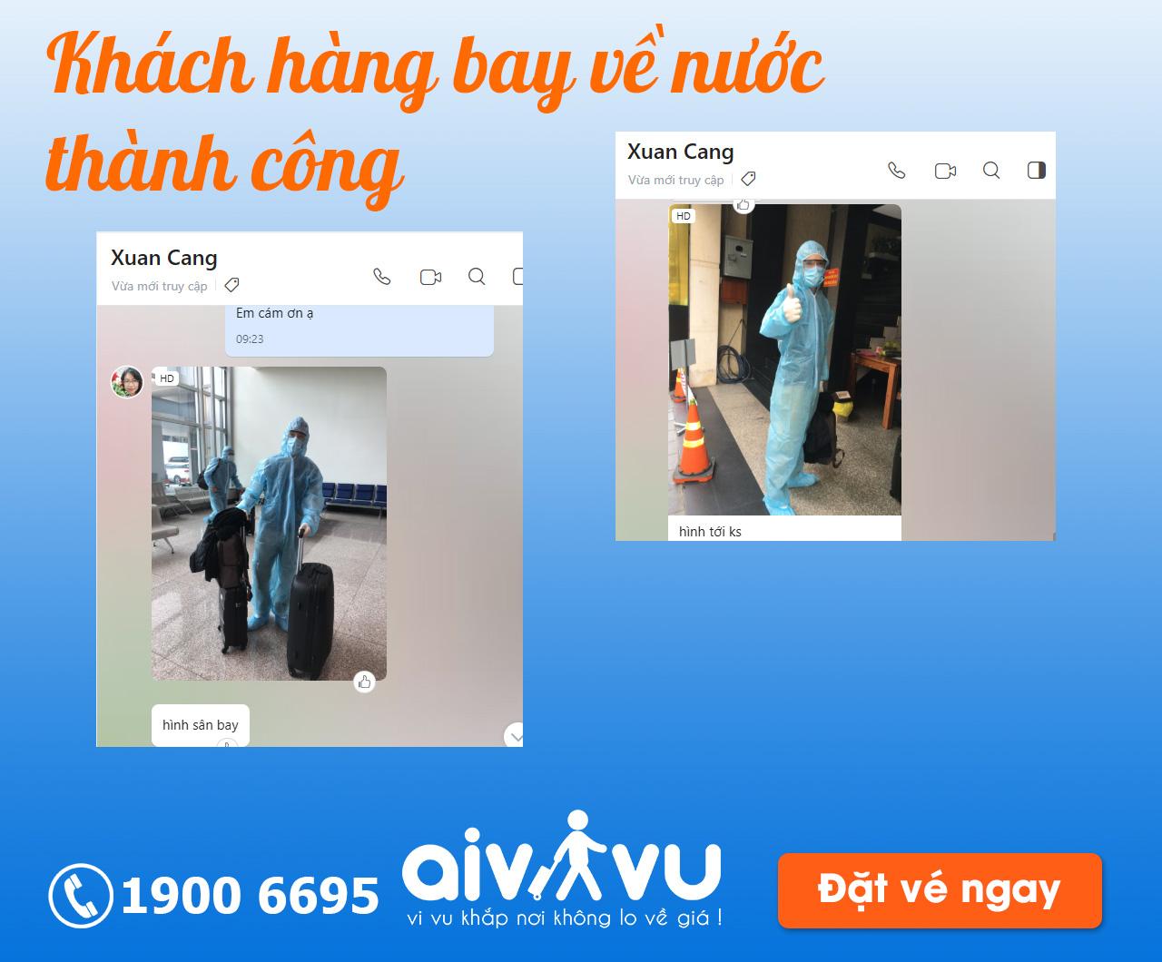 Khách hàng sử dụng dịch vụ từ Aivivu về nước thành công