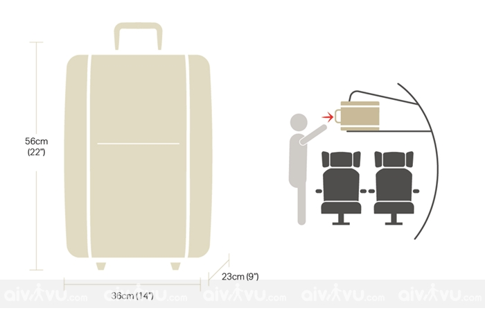 Kích thước hành lý xách tay Japan Airlines