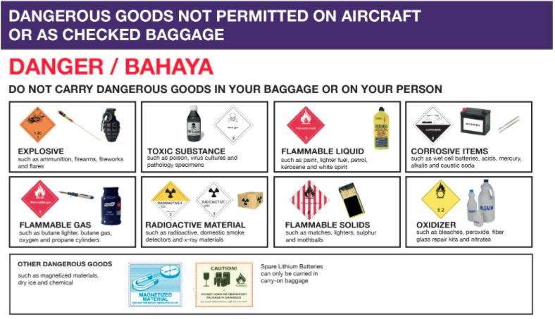Những vật dụng bị cấm trên chuyến bay Malindo Air