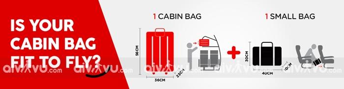 Quy định kích thước hành lý xách tay Air Asia