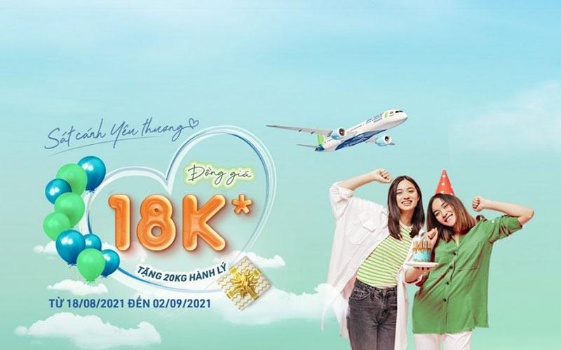 Bamboo Airways khuyến mãi đồng giá 18.000 VND sát cánh yêu thương