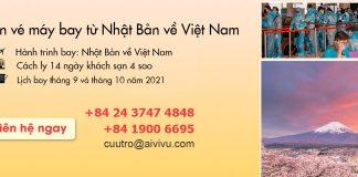 Mở bán vé máy bay từ Nhật Bản về Việt Nam